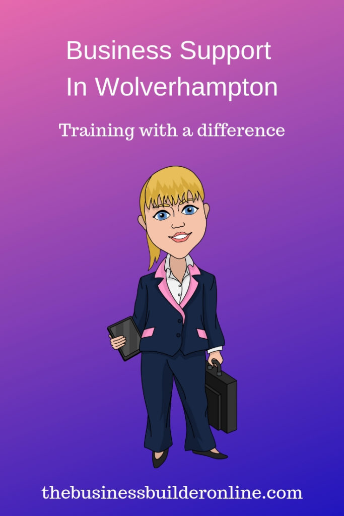 Image showing cartoon lady in suit with text overlay Business Support in Wolverhampton