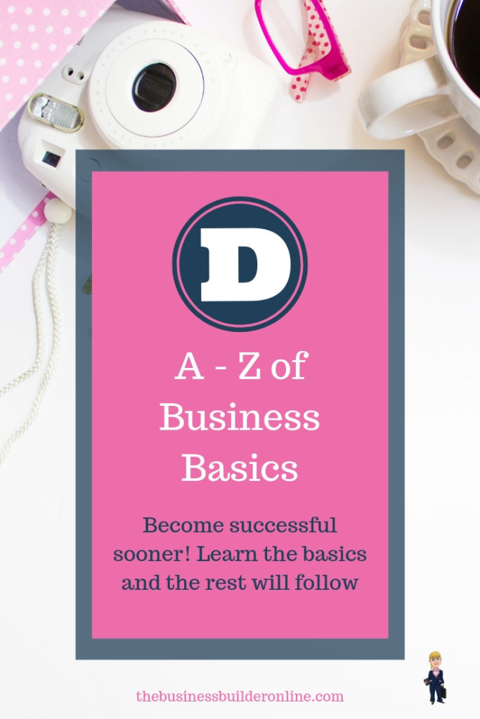 Image with text overlay A - Z of Business Basics - D