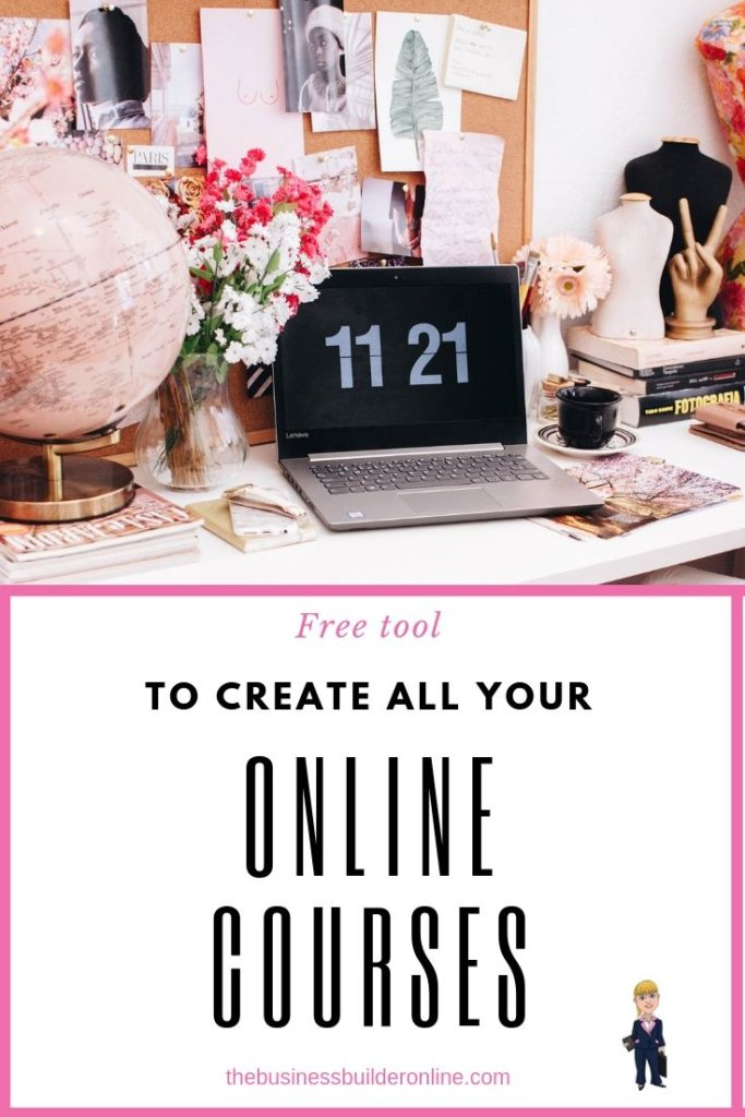 A busy desk with a laptop and books with text overlay saying free tool to create all your online courses