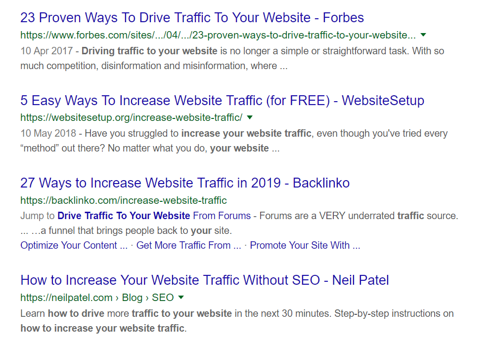 "image of Google results for search request ""how to increase traffic to your website"""