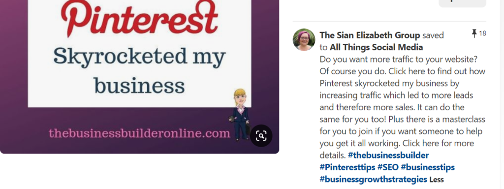 Image of my pin showing how I use Pinterest to increase traffic to my website