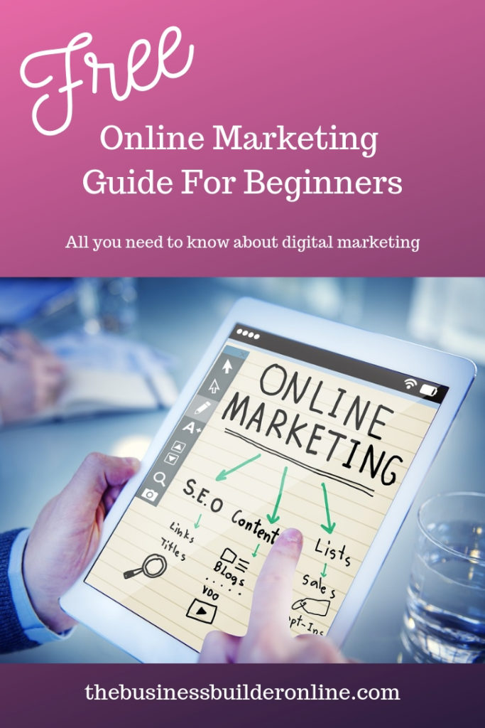 Image showing finger pointing to online marketing page in book with text overlay free online marketing guide for beginners