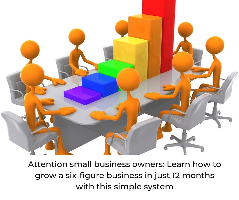 "Cartoon image of people sitting around a desk with a graph showing growth with text overlay ""Attention small business owners: Learn how to grow a six-figure business in just 12 months with this simple system""."