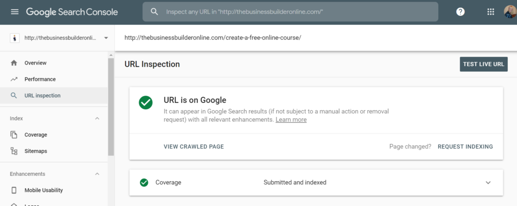 Image showing URL inspector by Google which will help to increase traffic to your website